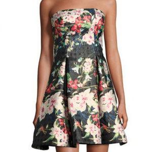 New York Strapless Floral-Print Cocktail Dress